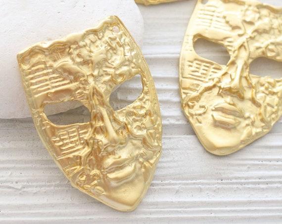 Mask pendant for masquerade ball, mask pendant gold, abstract pendant, gold face mask, large mask, mask dangle pendant, connector pendant