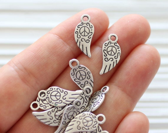 10pc angle wing charm silver, large wing charms, earring charms, metal beads, angel wings, bracelet charms, tribal, metal silver charms