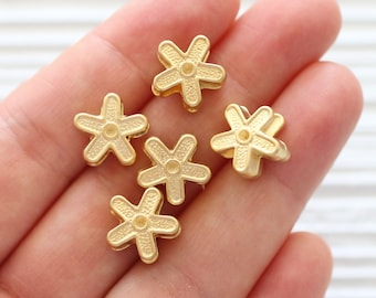10pc flower beads gold, bracelet beads, gold spacer beads, slider beads, necklace large hole beads, large rondelle beads, daisy charms beads