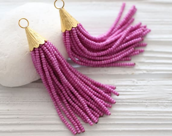 Fuchsia beaded tassel, plum, magenta, seed bead tassel, gold cap tassel, short bead tassel, jewelry tassels, earrings tassel, N25