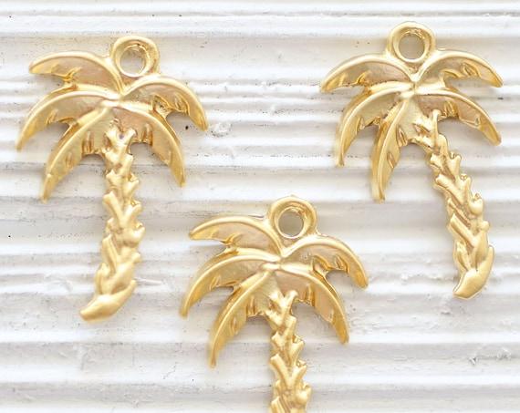 2pc palm charms, palm tree pendant gold, palm tree charm jewelry findings, tree charm, gold palm pendant, earrings charms, gold tree pendant