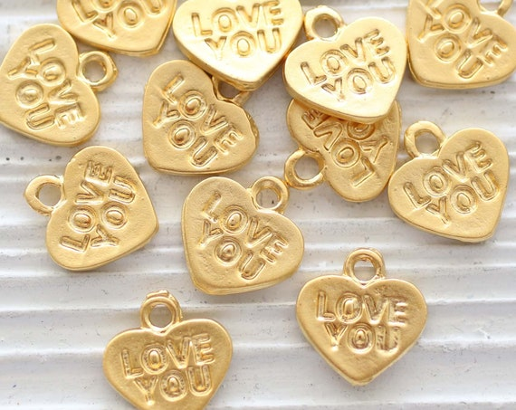 10pc heart charm, love you charms, necklace charms gold, heart charms for bracelet, stamped heart pendant, heart dangle, earrings charms
