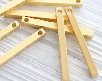 2pc bar pendant gold, square bar pendant, bar charms gold, earrings charms, gold bar pendant, rustic boho pendant, vertical stick pendant