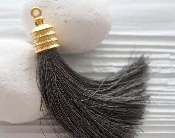 Gray silk tassel, gold cap tassel, keychain tassel, bag tassel charm, tassel pendant, grey, jewelry tassels, decor tassels, mala tassel, N24