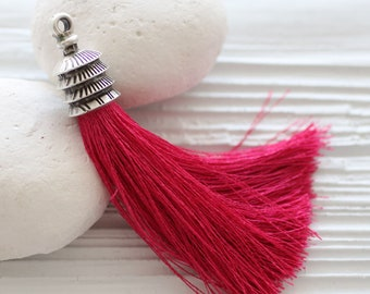 Tassel Necklace Handbag Charms Pale Purple Silk Tassel Pendant with Antique Bronze Ornate Tassel Cap Bohemian Jewelry Turkish Jewelry