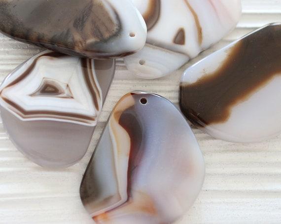 Beige agate slice, agate pendant, latte brown agate slice with drilled hole, geode agate, brown ivory agate stone, gemstones, OOAK, N2