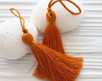 Copper silk tassel, tassel pendant, home decor tassels, sienna, rust color, tassel, keychain tassel, large mala tassel, jewelry tassels, N56