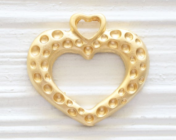 Gold heart pendant, heart, Valentines day gift, gold pendant, large pendants, love pendant, haeart pendant charm gold, hammered pendant