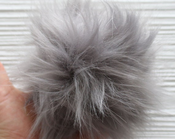 "Medium gray pom pom, 5"" pom poms for hats keychains purses home decor, beanie pom pom, fur pom poms for craft, large pom pom, N12"
