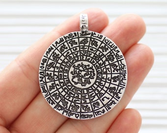 Round pendant silver, tribal pendant silver, boho pendant, metal pendants, large medallion, spiral coin pendant, ancient dangle pendant
