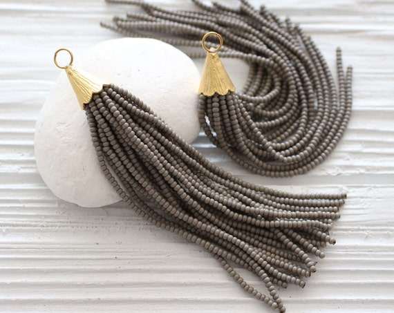 Gray beaded tassel, large gray tassel, tassel pendant, grey, bead tassel, long tassel, decorative, necklace tassel, smoke tassel, N27
