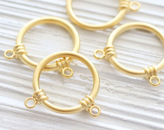 2pc matte gold ring pendant connector, circle charm pendant, gold round ring pendant, ring connector, jewelry links,multistrand,loop pendant
