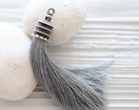 Silk gray tassel, purse tassel, jewelry tassel charm, silver cap, grey, mala tassel, necklace tassel, silk tassel,tassel pendant, N37