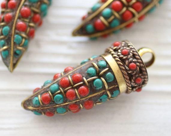 Tibetan tusk pendant, turquoise coral inlay focal pendant, horn shaped pendant, gemstone pendant, Nepal pendant, tribal pendant, OOAK