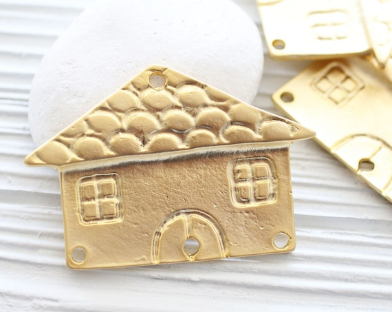 Sweet home pendant connector, house pendant, large gold pendant, home sweet home, wall hanging, matte gold jewelry findings