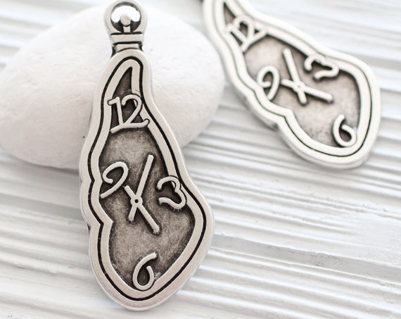Clock pendant silver, watch pendant, pendant dangle, home decor accessory, keychain charm, silver findings, organic shaped abstract pendant