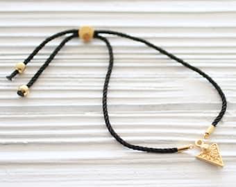 Adjustable black cord bracelet blank, DIY cord bracelet, semi-ready cord bracelet with metal sliding stopper, friendship bracelet string, N8