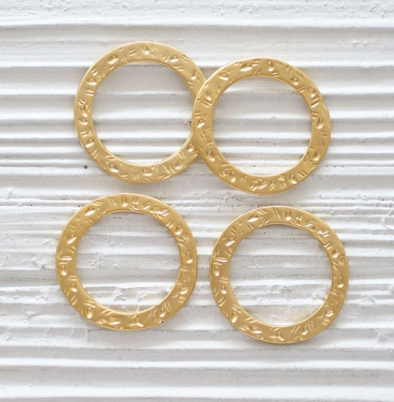 2pc jewelry links gold, jewelry connectors, thick link, hammered links, ring pendant, necklace links charm, loop pendant, circle pendant