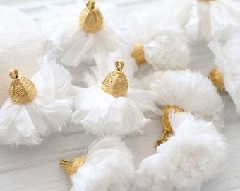 Ivory sari silk pom pom tassel, sari silk tassel, tassel with cap, white, ivory tassel, decor, keychain, earrings necklace tassel dangle, N2