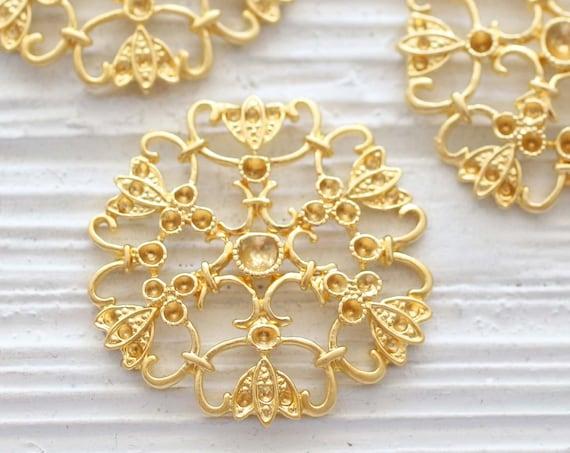 Filigree pendant gold, earrings charm gold, round gold filigree connectors, tribal pendant, heart and flower medallion, filigree findings