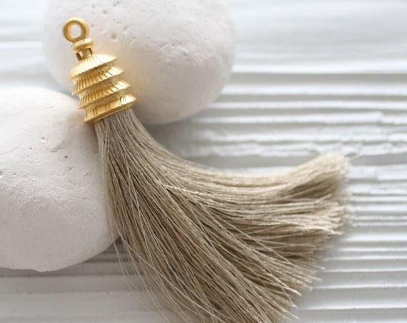 Taupe silk tassel pendant, brown tassel, camel, gold cap tassel, purse tassel charm, tan, beige tassel, jewelry tassels, knob decoration,N25