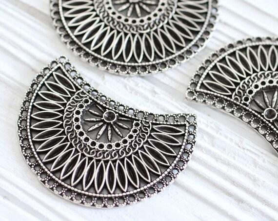 Crescent moon pendant, multi strand connector, tribal crescent connector, metal collar, silver crescent, rustic pendant, silver collar