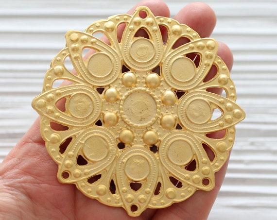 Focal pendant gold, medallion gold, large round pendant, matte gold, pendant connector, focal connector, tribal pendant medallion, hammered