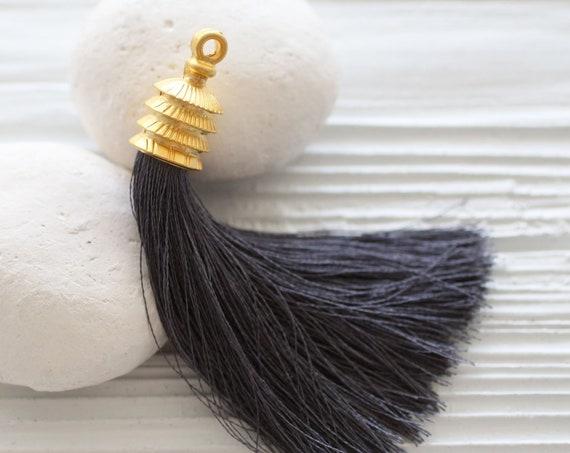 Dark gray silk tassel, gold cap, mala tassel, purse tassel charm, charcoal, tassel, smoke, handmade,thick long tassel,silk thread tassel,N39