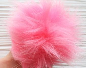 """Pink faux fur pom pom, 5"""" large pom poms for hats purses decor, slippers pom pom, keychain pom pom, beanie pom pom, baby pink pom poms, N8"""