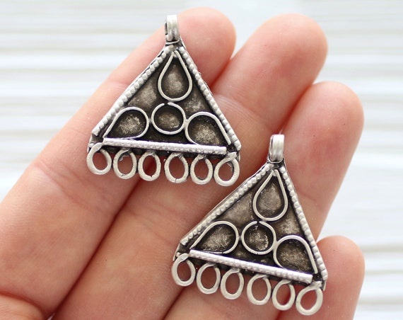 2pc chandelier charm pendant, dangle pendant silver,tribal dangles,multi strand jewelry connectors,earrings charm,triangle necklace end bars