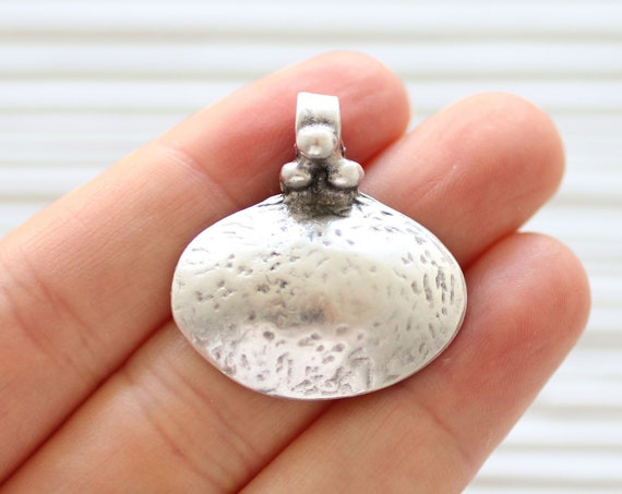 2pc hammered pendant silver, just dangles, oval pendant, hammered silver metal, silver findings, necklace dangle pendant, drop