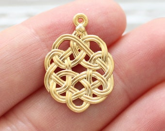 Celtic knot charm, drop charms gold, spiral filigree earring charms, filigree pendant gold, necklace charms, filigree findings gold