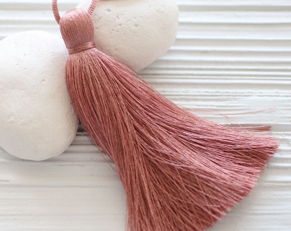Dusty rose silk tassel, rose blush, jewelry tassel pendant, rose pink extra large tassels, door knob decor, purse charm, wall hangings, N58