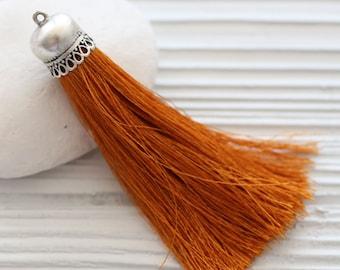 Copper silk tassel with silver tassel cap, burnt orange silk tassel, purse tassel charm, tassel, silk necklace tassel, tassel pendant, N56