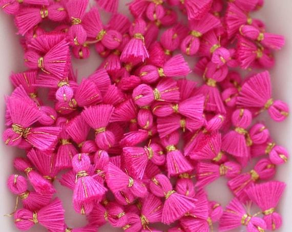 10pc fuchsia tassel charms mini, bracelet tassel, charm tassel, earrings tassel, pink, tiny jewelry tassels, necklace tassel, magenta,N62