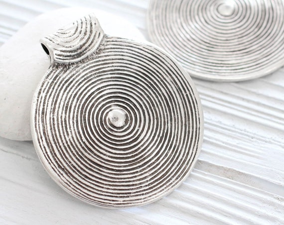 Large round silver pendant, silver medallion, silver spiral pendant, silver tribal pendant, large medallion, large metal pendant, antique