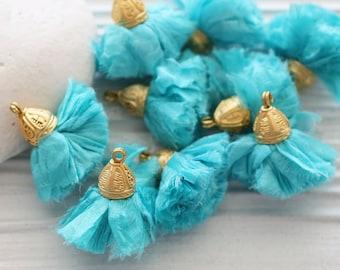 Aqua blue sari silk tassel, silk pom pom tassel, tassel with cap, turquoise tassel, keychain, earrings necklace tassel dangle, decor, N42