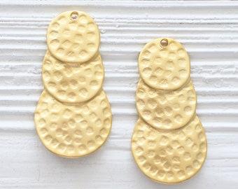 bubble pendant triple circle dangle pendant tribal pendant Layered earrings dangle gold tear drop teardrop pendant hammered pendant
