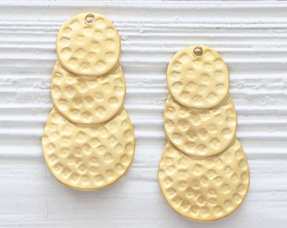 Layered earrings dangle gold, tribal pendant, teardrop pendant, bubble pendant, triple circle dangle pendant, hammered pendant, tear drop