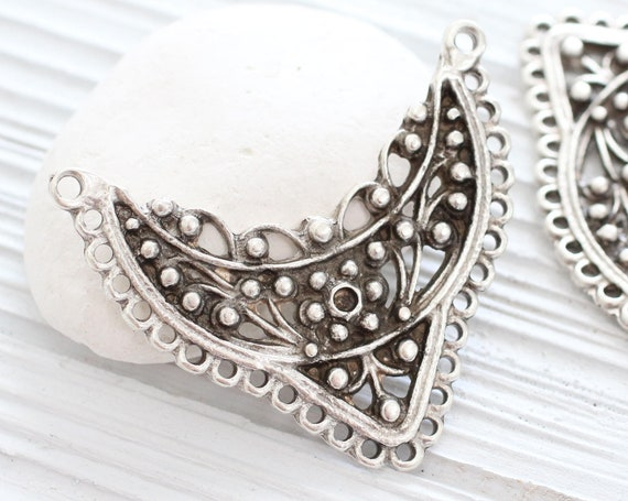 Tribal crescent pendant, multi strand connector, focal pendant, metal collar pendant, large silver crescent, rustic, flower bar connector