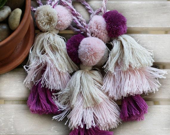 Pom pom tassel charm, pink ivory purple pom poms tassel bag charm, pom poms for keychains, knob decor, purse charm, wall hangings