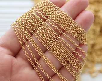 3.3 feet 3mm gold cable chain, 24K gold plated cable chain, chain, matte gold chain, gold chain, necklace chain, jewelry chain, cable chain