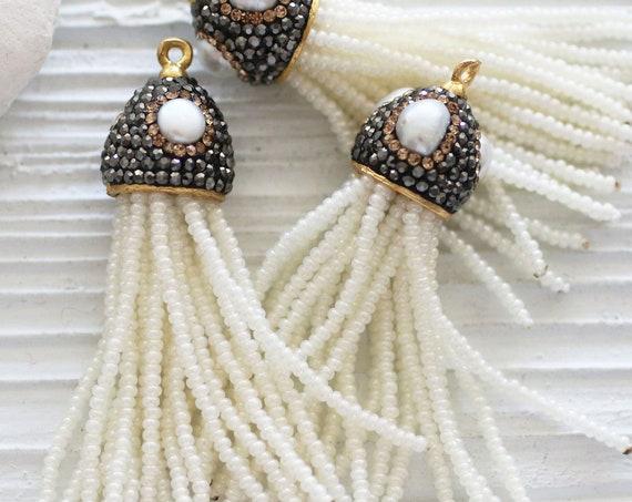 Beaded tassel with pearls, ivory beaded tassel pendant, tassel with pearl pave cap, white pearl necklace tassel, wedding earrings tassel