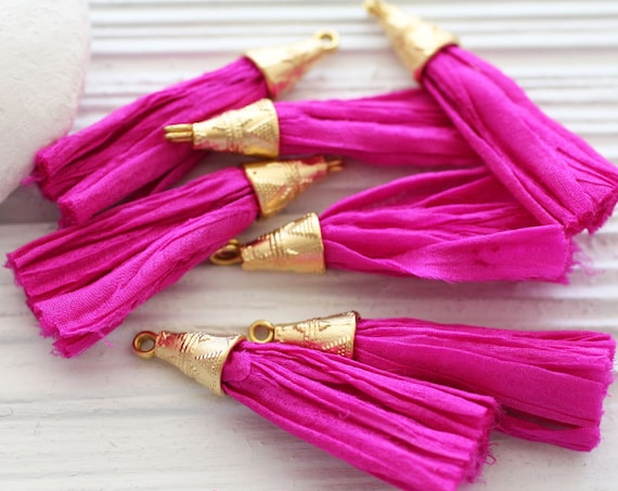 Fuschia sari silk tassel, magenta, cherry, pink short silk tassel, tassel with gold cap, purse tassel, earrings tassel, necklace tassel, N62
