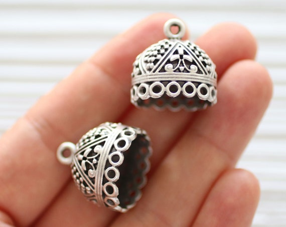 2pc large silver tassel cap with loops, bead caps, bead cones, silver bead cap, end caps, unique cones, filigree bead cap, ornate tassel cap