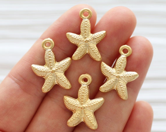 10pc starfish charm gold, starfish, sea charms, starfish dangle pendant, star charm gold, hammered beads, gold earrings dangle charms, star