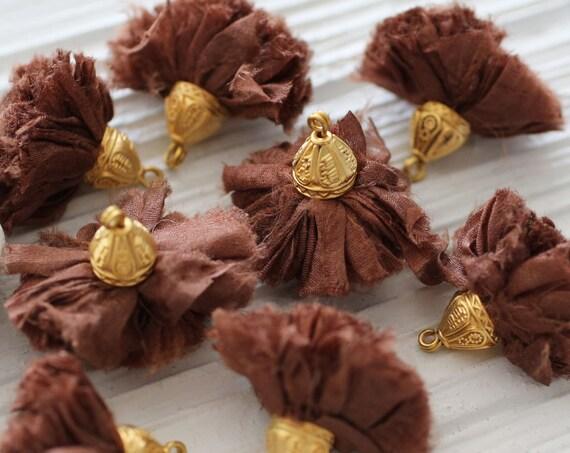 Brown sari silk pom pom tassel, sari silk tassel, tassel with cap,coffe brown keychain tassel, earrings necklace jewelry tassel dangle, N38