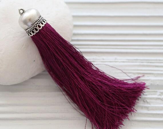 Plum fuchsia silk tassel, magenta, silver cap large tassels, silk tassel, jewelry tassels, purple tassel, necklace tassel, purse tassel, N21