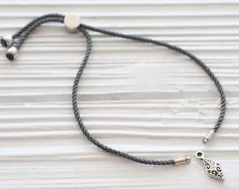 Adjustable grey cord bracelet, DIY cord bracelet blank, gray semi-ready cord bracelet with silver stopper, friendship bracelet woven, N24