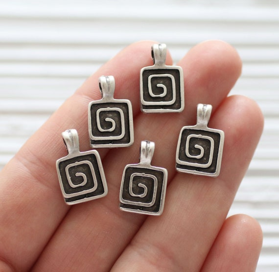10pc square charms, spiral charms pendant, silver dangles, silver charms, earrings dangle, silver tribal pendant, rustic, boho, large hole